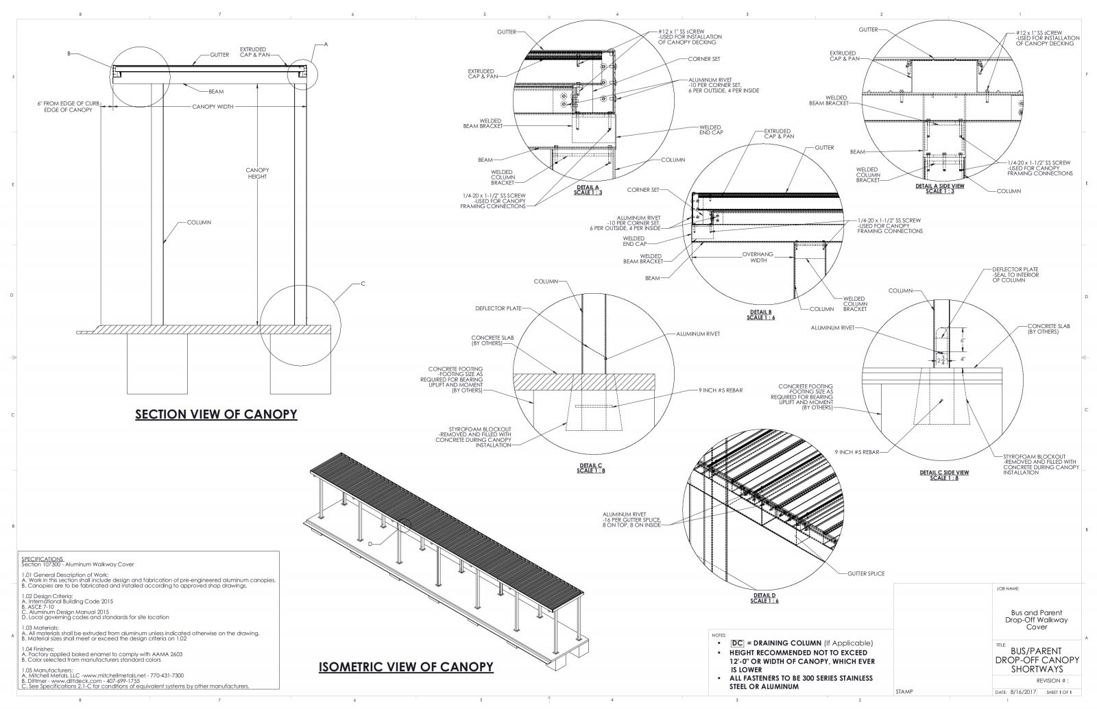 Covered Walkways for Schools | Download School Canopy CAD Drawings