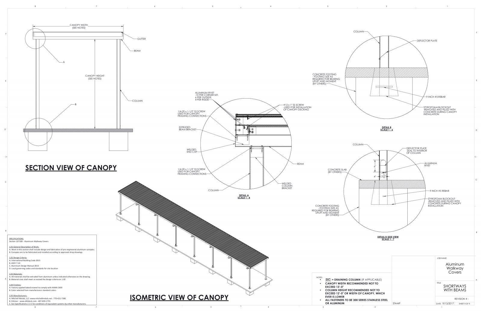 Covered Walkway Canopy Drawings | Specs for Canopies