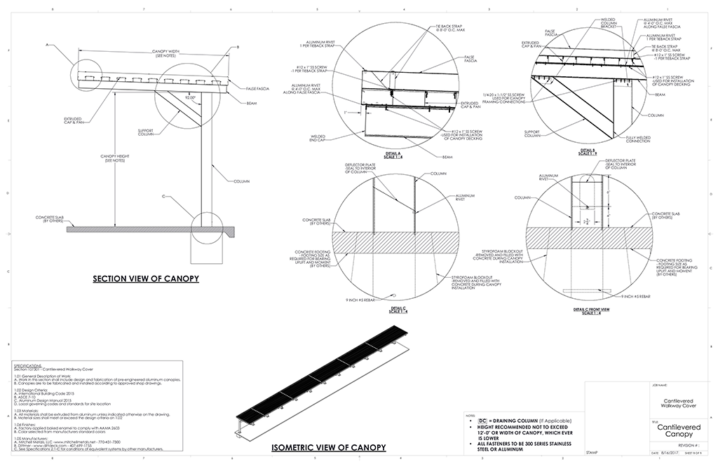 Cantilever canopy download metal canopy cad from for Gazebo dwg