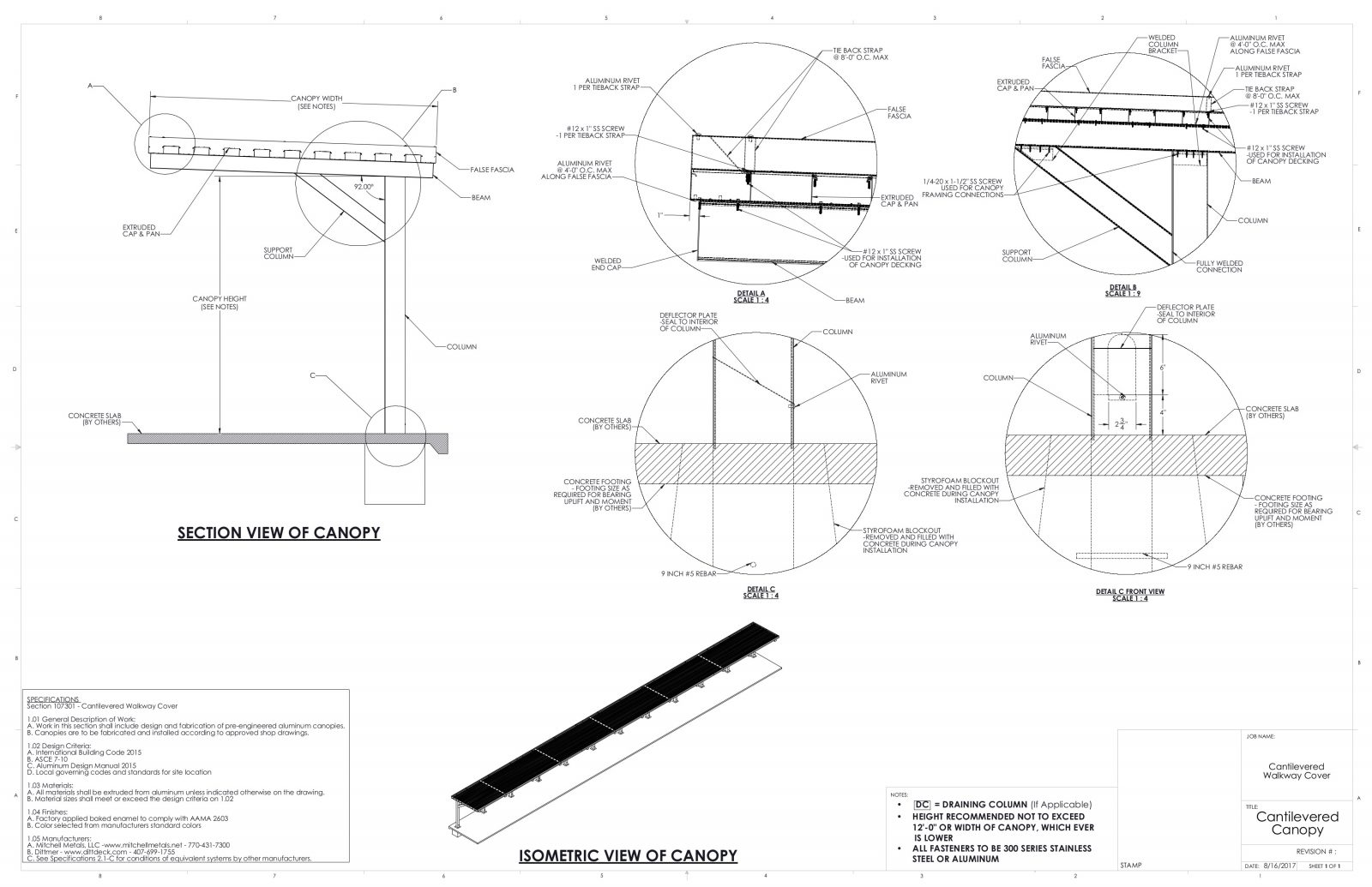 Cantilevered Canopy  sc 1 st  Mitchell Metals & Cantilever Canopy | Download Metal Canopy CAD from Mitchell Metals