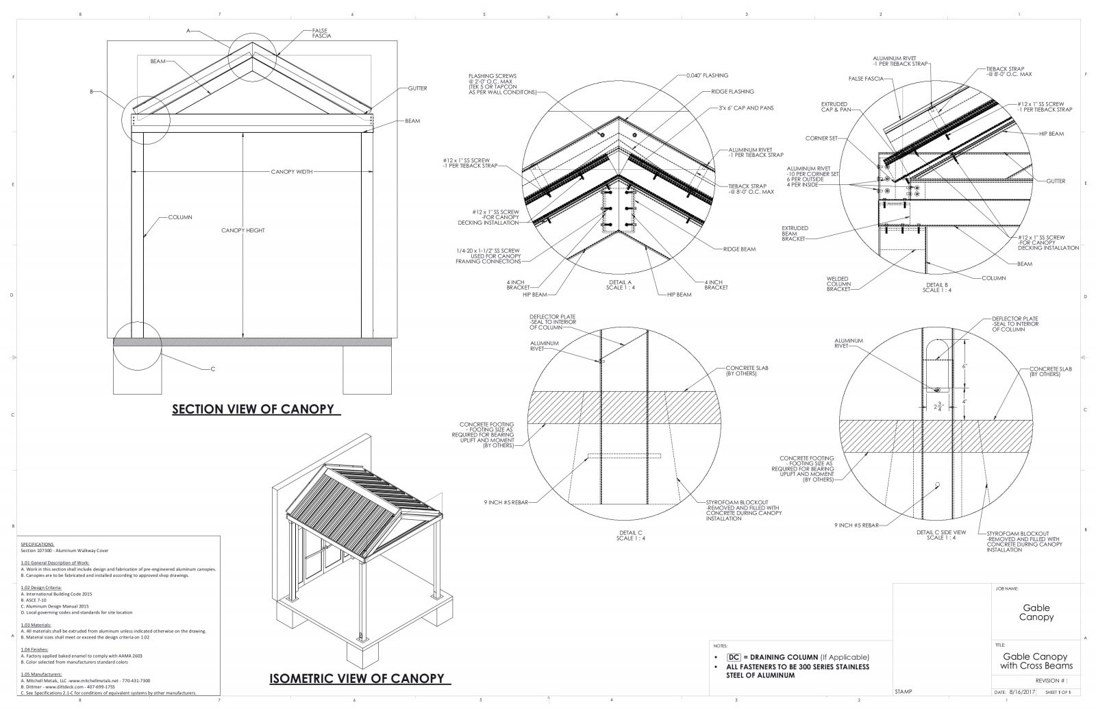 Details of gabled canopies for contractors and architects