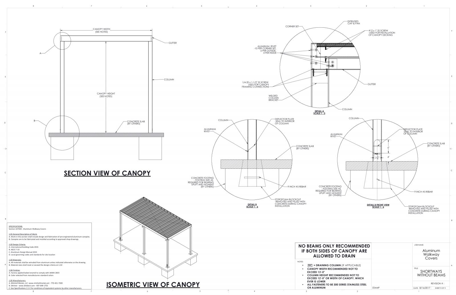 details of walkway canopy for architects and GCs