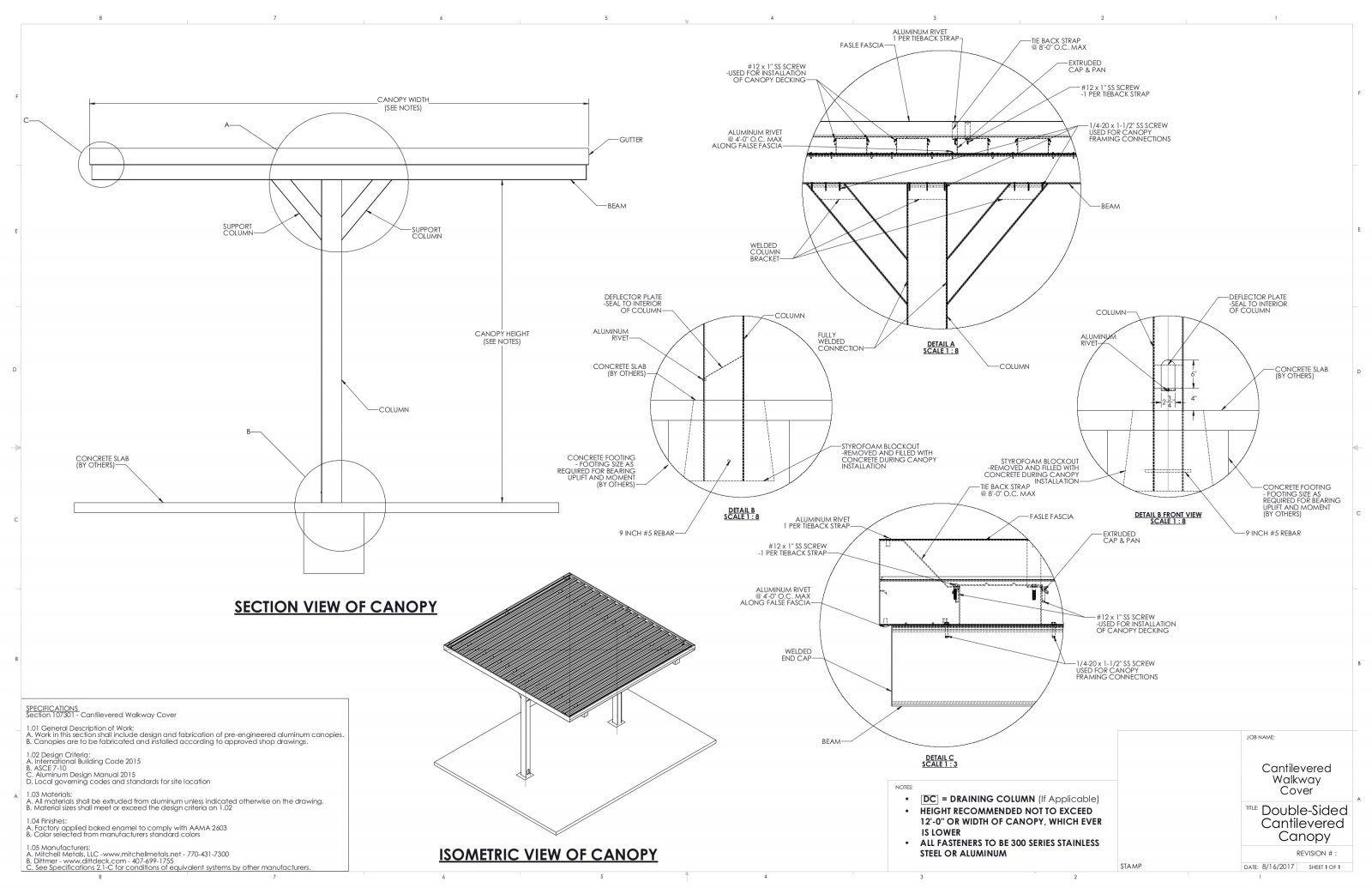 Cantilever Canopy | Download Metal Canopy CAD from Mitchell