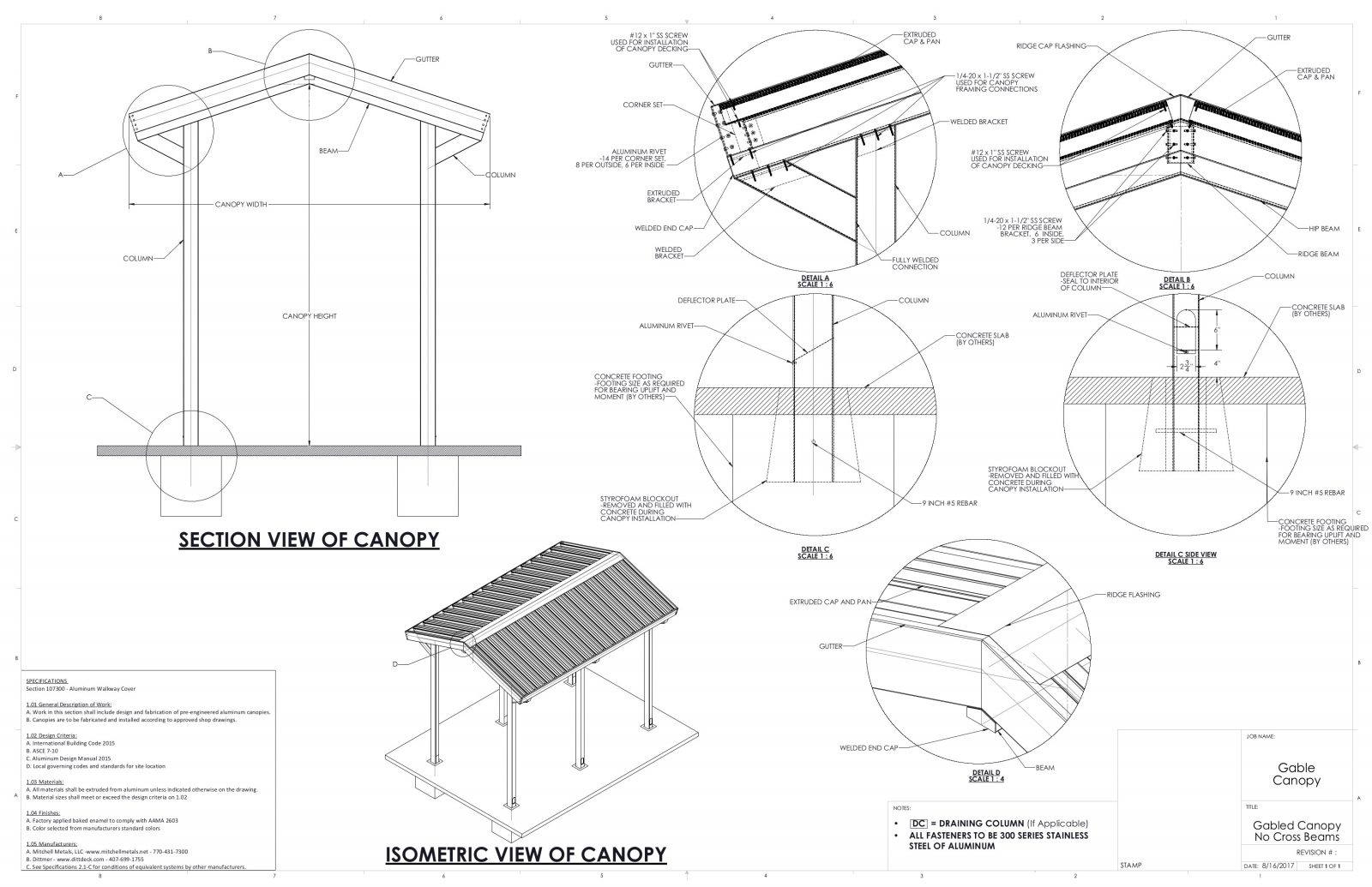 Gabled canopy without crossbeams-drawings and specs by Mitchell Metals