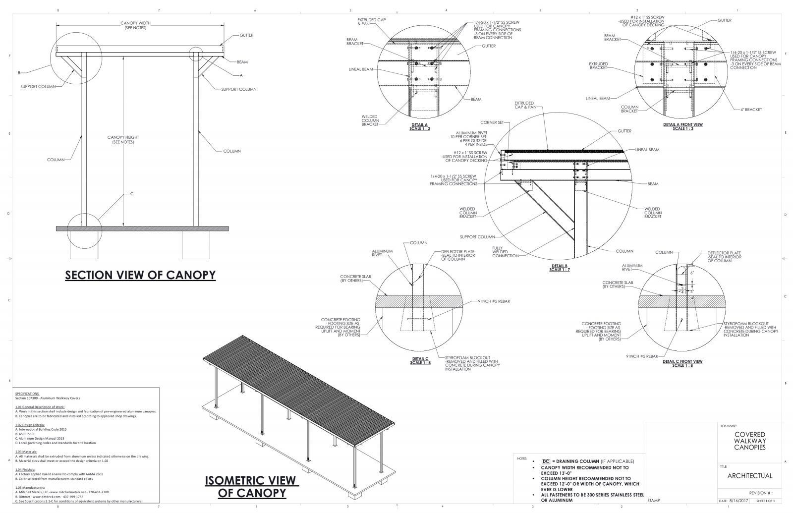 Architectural canopy details and specifications for architects and general contractors
