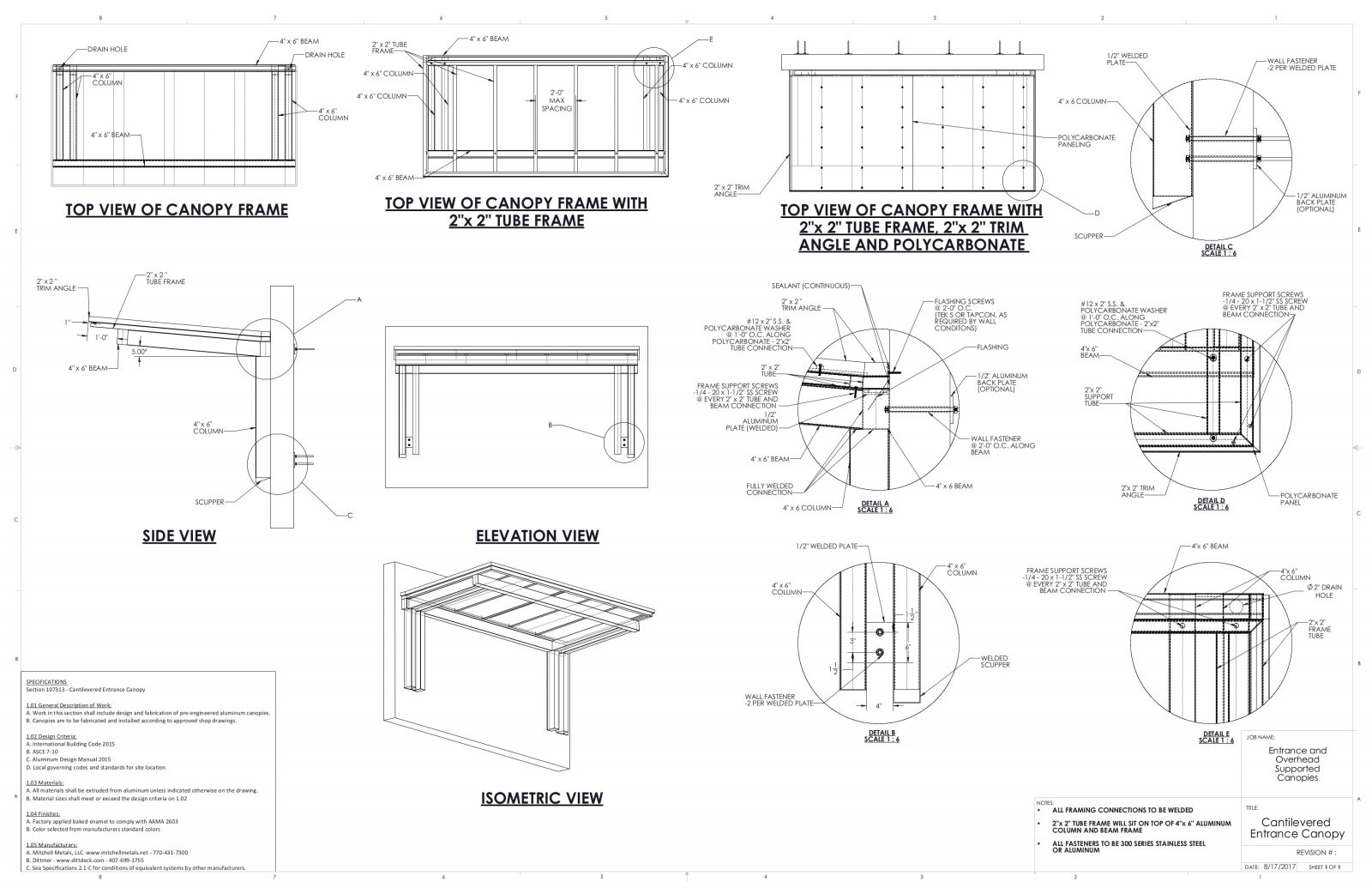 Entrance / Overhead Canopy Details | Commercial Metal Canopy Drawings