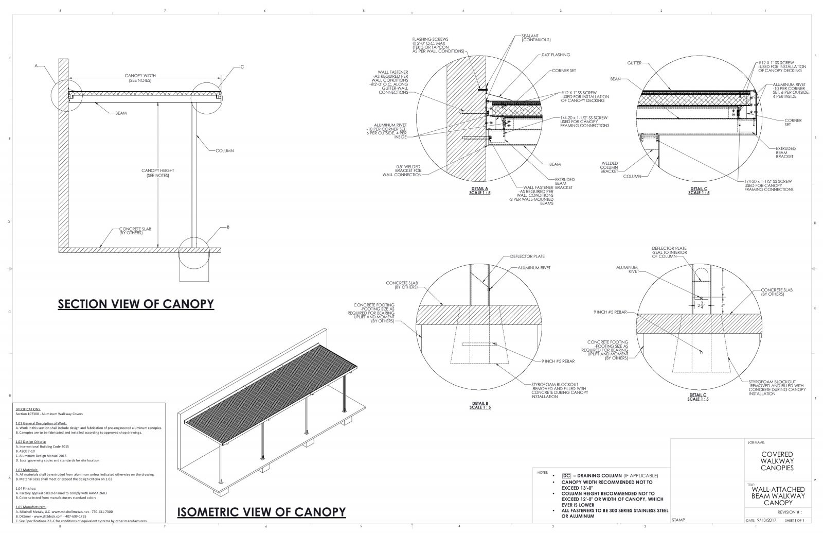 Aluminum canopy designs and specs by Mitchell Metals